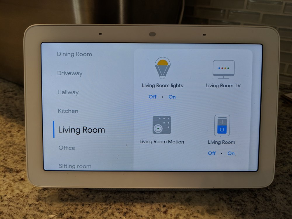 Google Home Hub showing rooms and controls