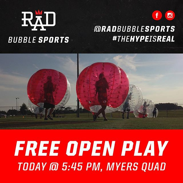 Yep. You're reading this right. FREE OPEN PLAY. TODAY! It's the first day of classes at #UGA - come out to #MyersQuad at 5:45pm to play in the bubbles! ⚽️🏃 #RAD #TheHypeIsReal #RADBubbleSports #AthensGA #athens #athensmade #firstdayofclasses