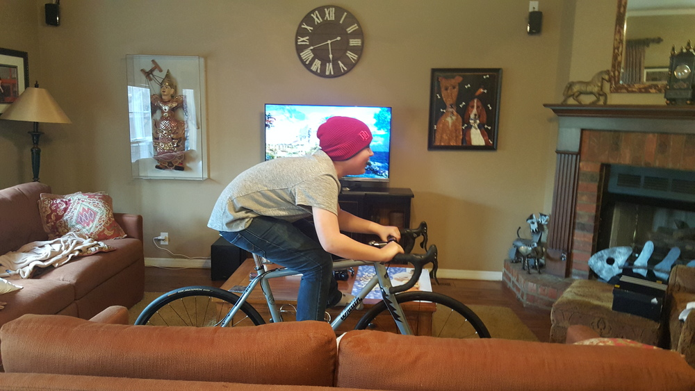 By far one of my favorite pictures. The bikes started to find themselves in odd places in the house. My son tried to persuade me that relocating wasn't so bad...