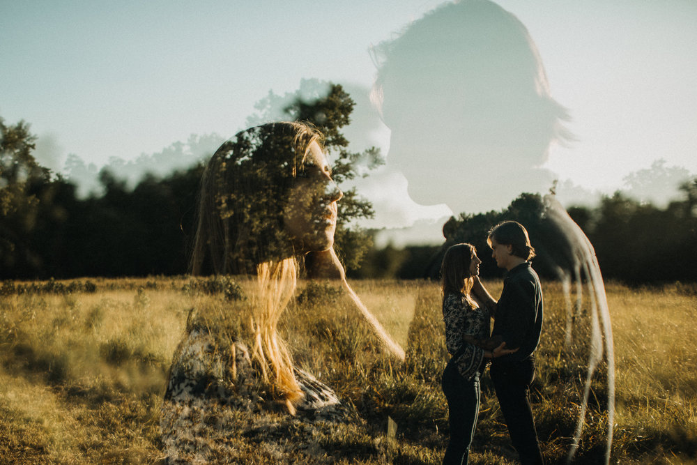 Summer Sunset Field Engagement double exposure
