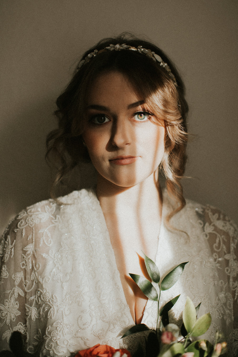 Moody empty house bridal portraits