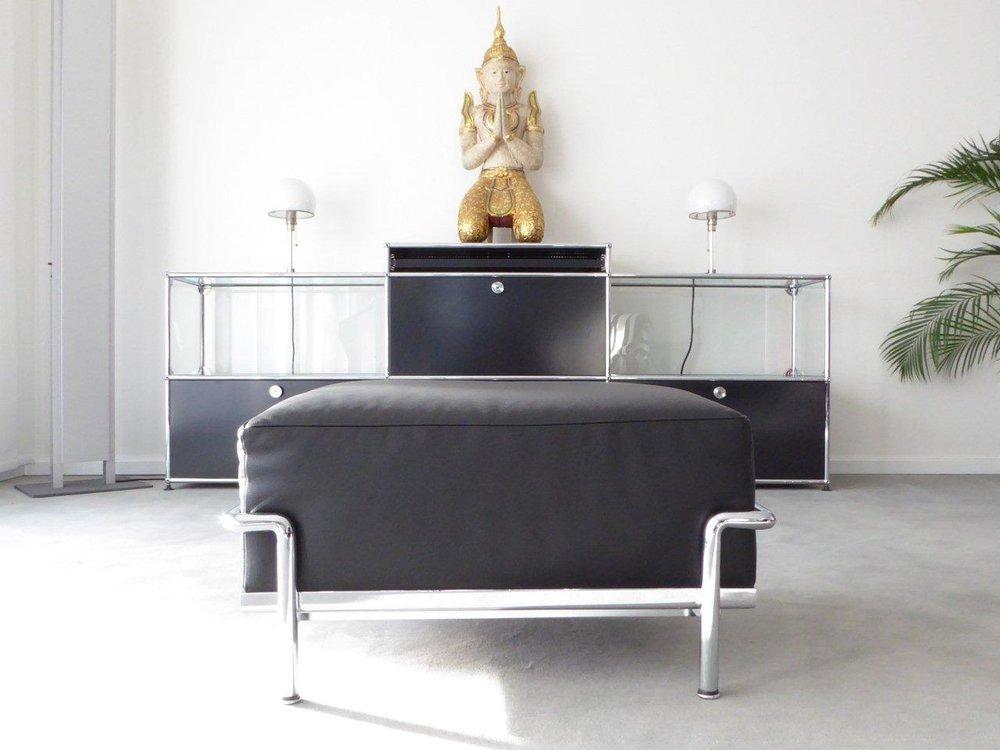 Cassina Le Corbusier LC2 LC3 Hocker, Leder schwarz, Top ...