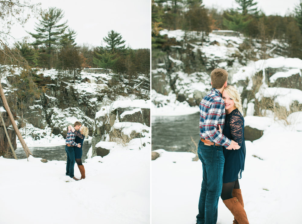 Minnesota snowy winter engagement photos in Taylors Falls Minnesota hugging