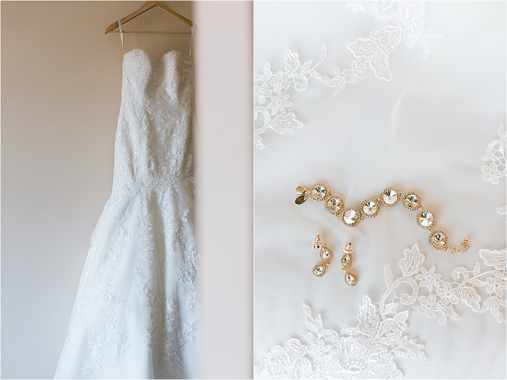 Wedding dress and bridal details of Minnesota summer wedding