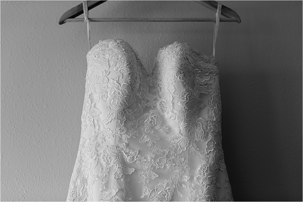 Wedding dress closeup of gorgeous gown in black and white at Minnesota summer wedding