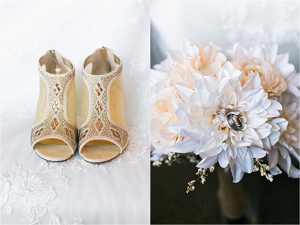 Stunning bridal shoes and flowers at Minnesota summer wedding