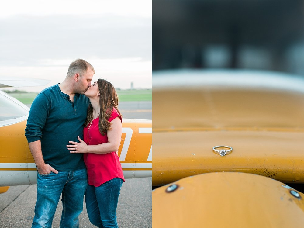 Minnesota airplane engagement session flying cloud airport ring on airplane