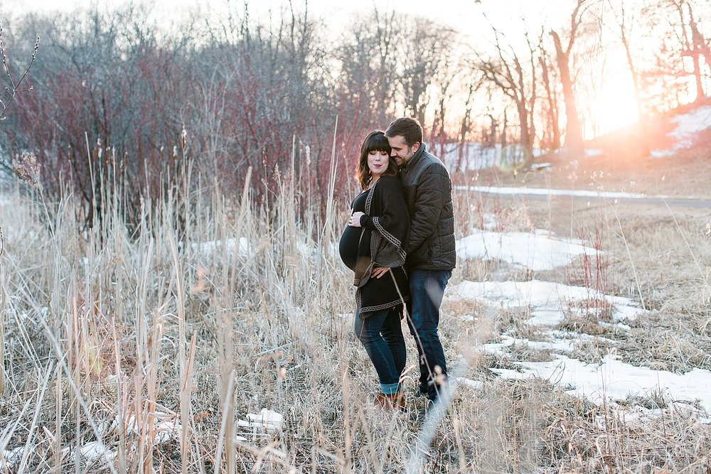 Minnesota Winter Maternity Session Lakefront Park Minneapolis Maternity Photographer Mallory Kiesow Photography