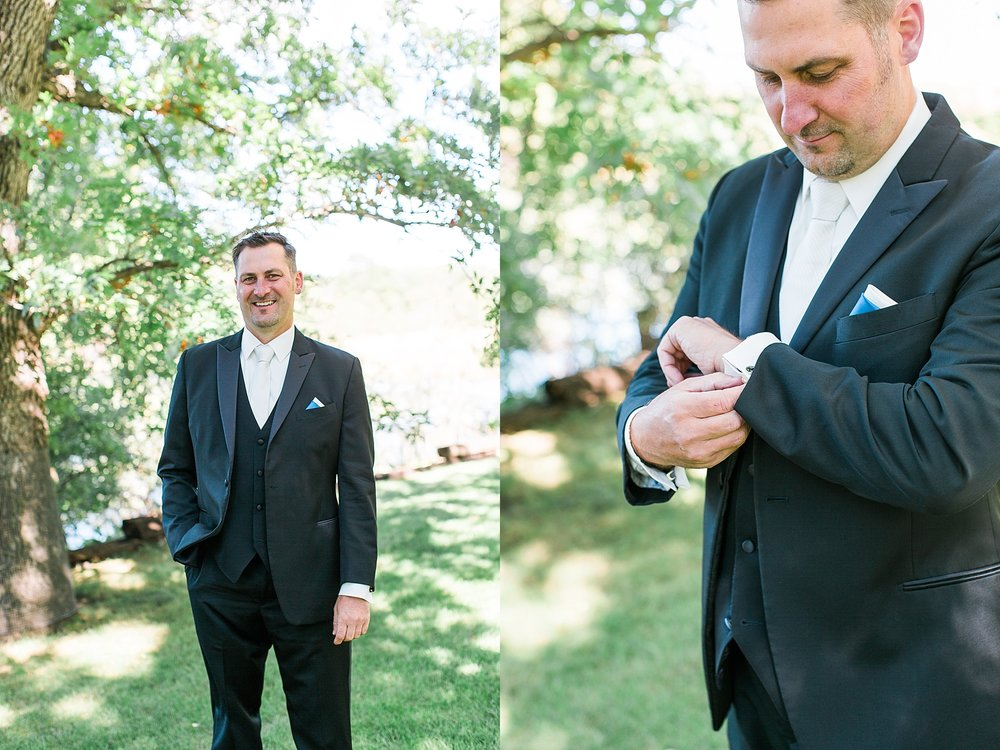 Groom getting ready for wedding at the Chart House Summer Wedding Lakeville Minnesota Minneapolis Wedding Photographer Mallory Kiesow