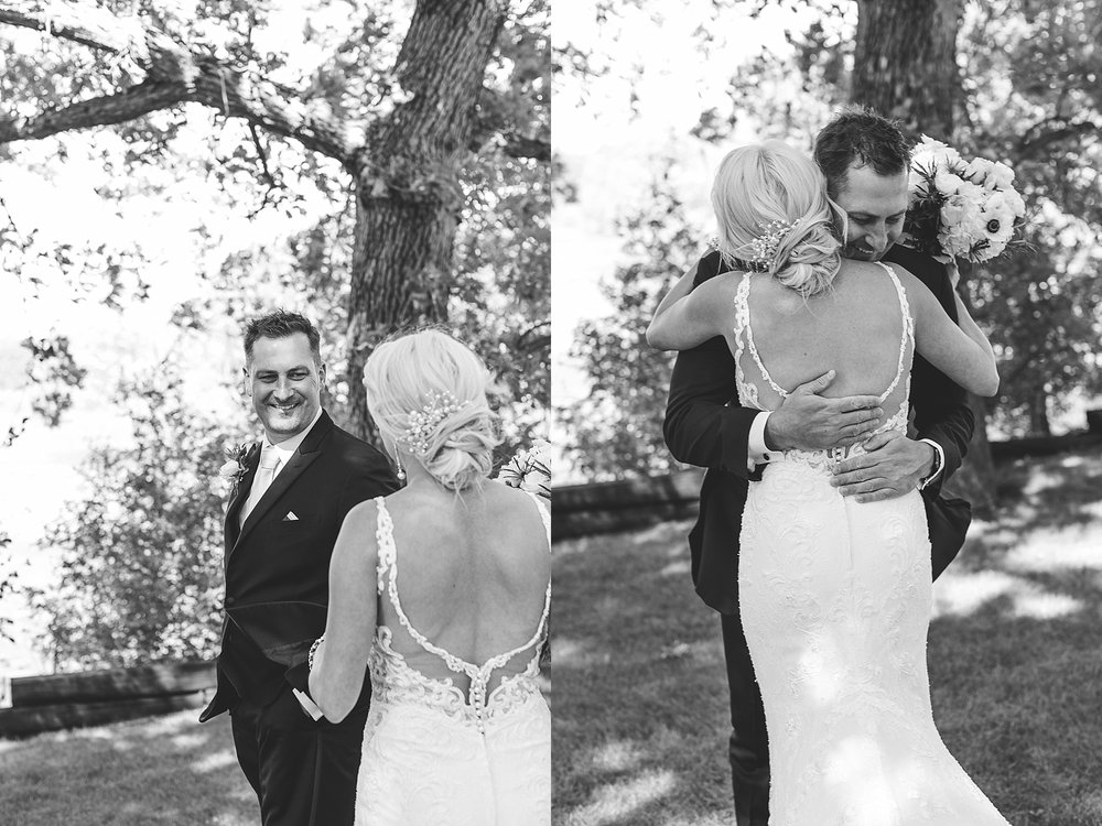 Groom's reaction to seeing bride in first look for wedding at the Chart House Summer Wedding Lakeville Minnesota Minneapolis Wedding Photographer Mallory Kiesow