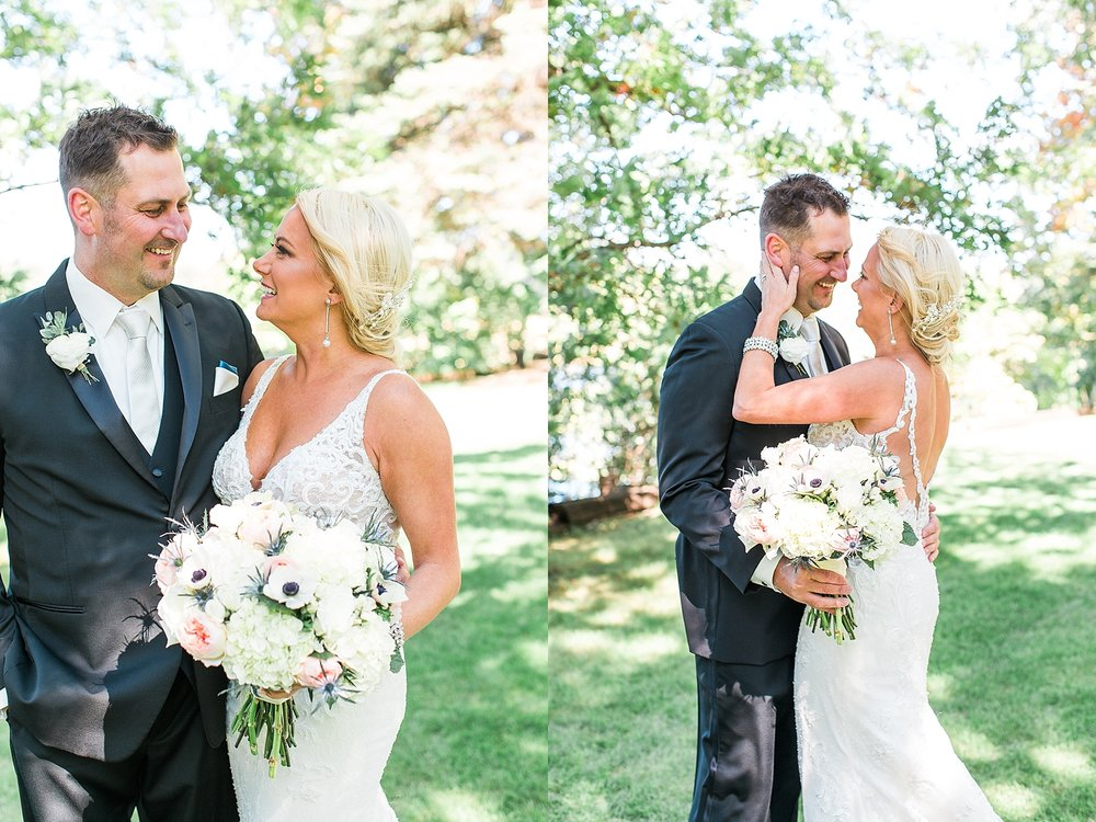 Bride and groom wedding portraits on wedding day at the Chart House Summer Wedding Lakeville Minnesota Minneapolis Wedding Photographer Mallory Kiesow