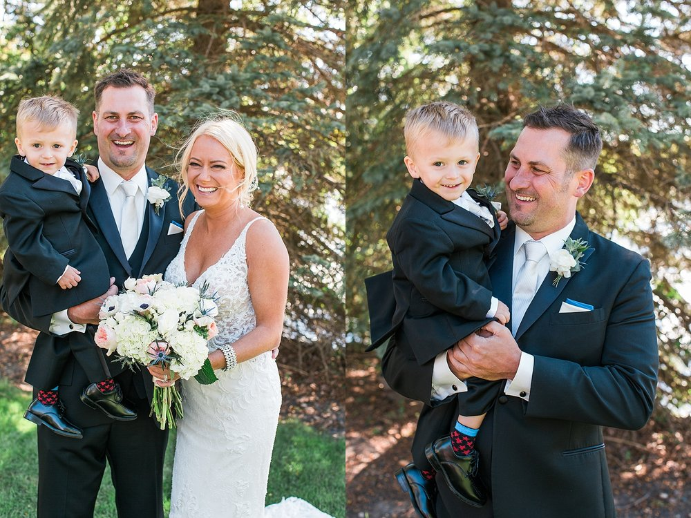 Bride groom and son wedding portrait on wedding day at the Chart House Summer Wedding Lakeville Minnesota Minneapolis Wedding Photographer Mallory Kiesow