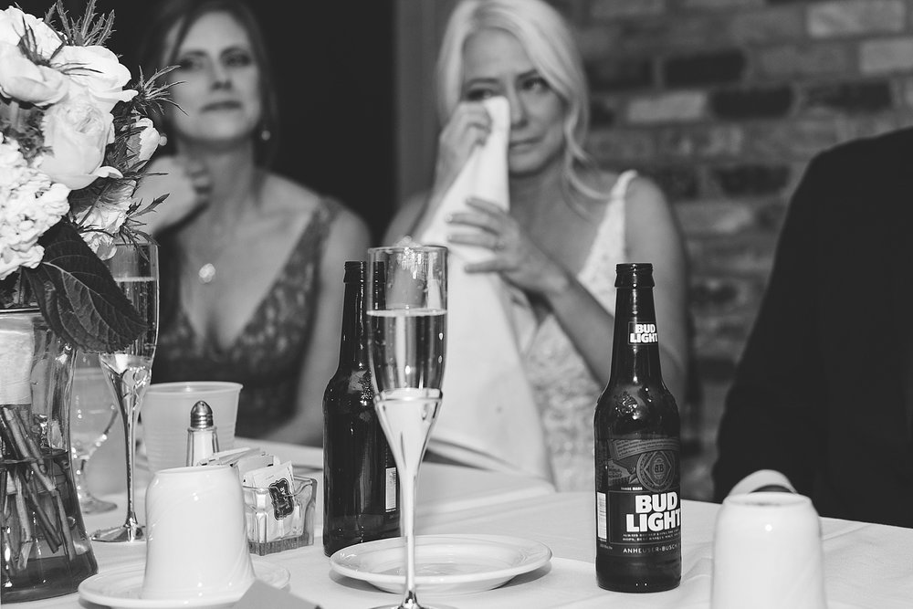 Bride's reaction to speech at the Chart House Summer Wedding Lakeville Minnesota Minneapolis Wedding Photographer Mallory Kiesow