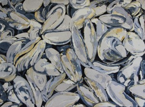 Watercolor - mussel shells