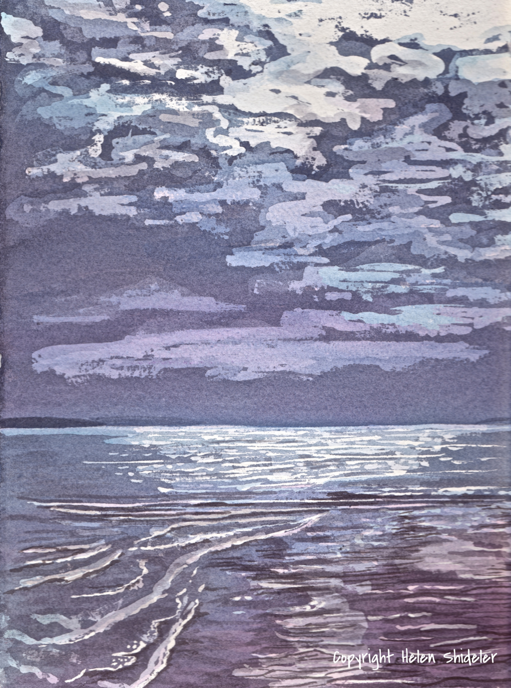 Moody Moment - poured watercolour by Helen Shideler