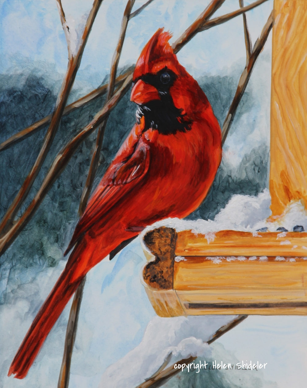 Happy to See You - Painting of a cardinal by Helen SHideler