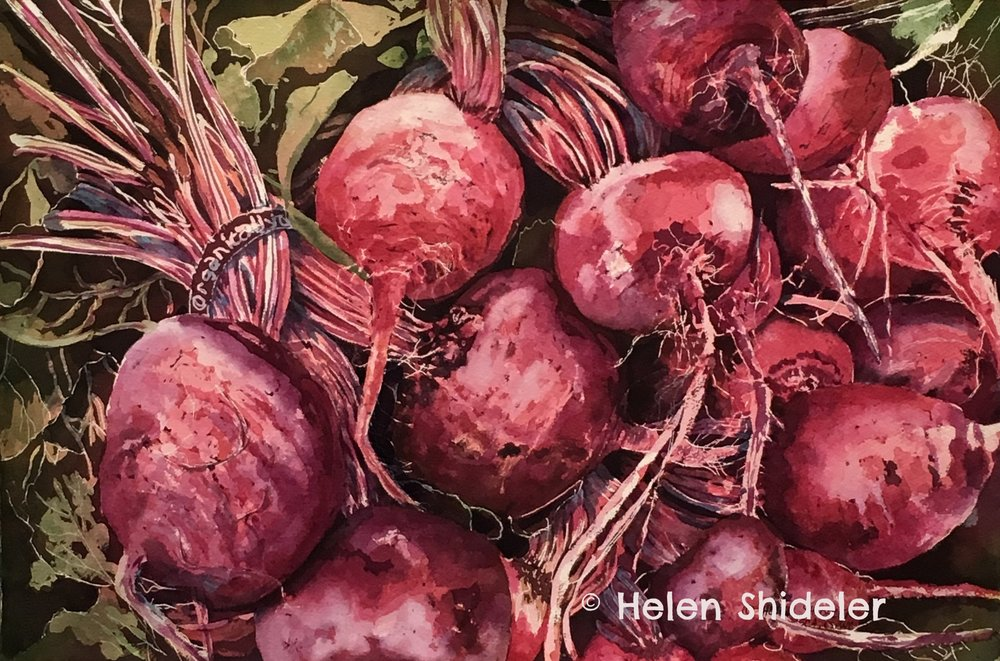 painting of beets by Helen Shideler