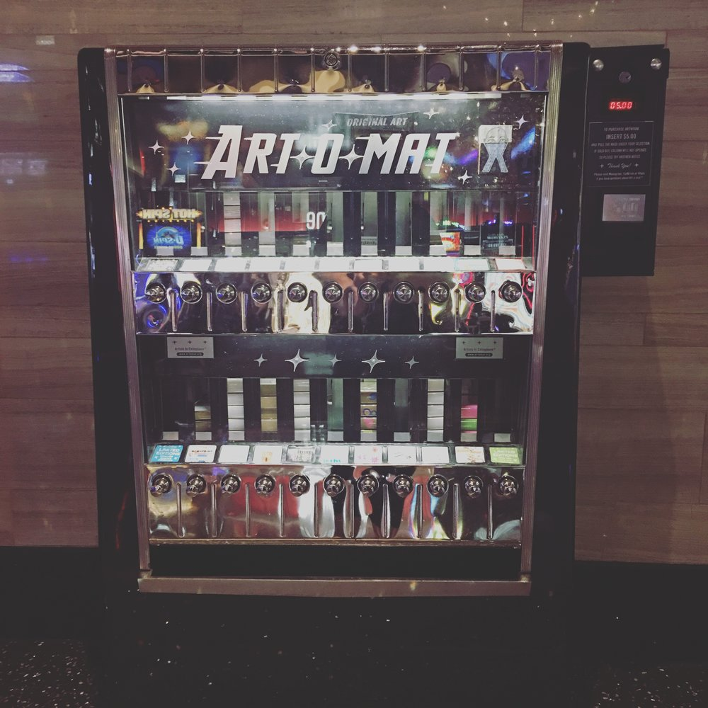 In love with these vintage Cigarette machines! They have been repurposed to vend local artists different types of work!