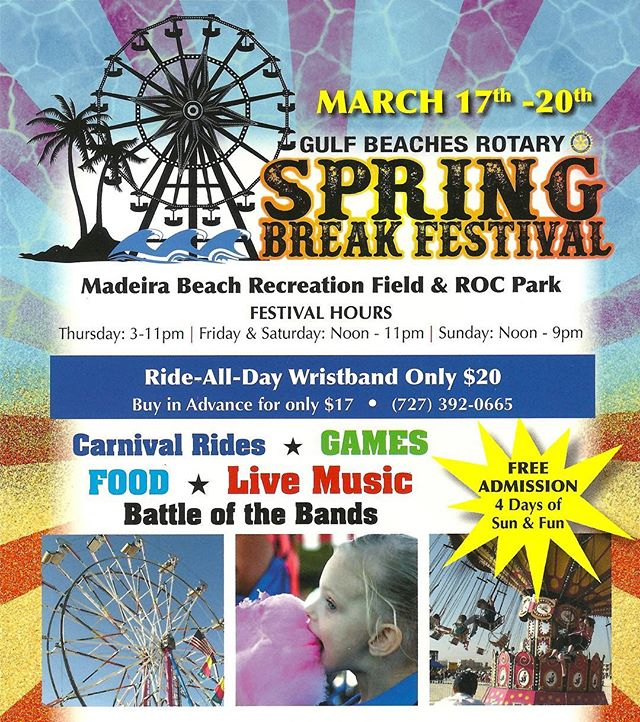 It's that time of year again!! This years Spring Break Festival will be even better! Join your #friends and #family for some real #funinthesun #carnivalrides #food #beer#cottoncandy #florida #livemusic