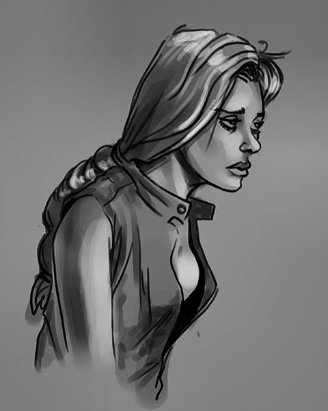 A fleshed out gesture from a few months back. I wasn't happy with the likeness, but I liked her final expression. . . . . #photoshop #digitalart #art #artistsoninstagram #doodle #sketch #gesture #drawing #painting #girl #sad #depressed #braid #blackandwhite #woman #picoftheday #tbt