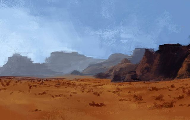 On to landscapes! I want to try and speed up my painting. ~45min. . . . #sketch #speedpaint #drawing #doodle #art #digitalart #digitalpainting #landscape #nature #desert #photoshop #practice #alsoimback