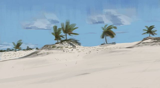 Another landscape - maybe should have delved into the details a bit more. . . . #drawing #doodle #sketch #art #digitalart #digitalpainting #speedpaint #landscape #beach #palmtrees #outdoors #practice