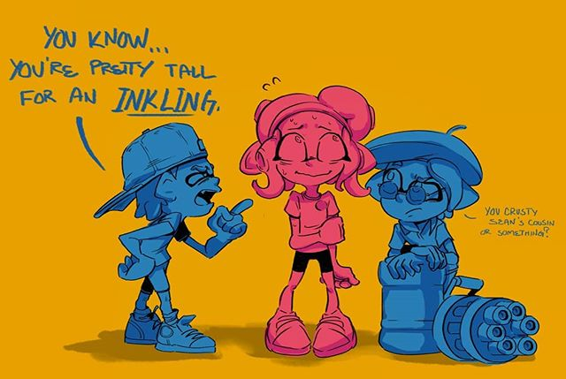 Agent 8's first foray into the plaza. I like to imagine inklings aren't all that smart. . . . . #splatoon #splatoon2 #octoling #splatling #art #artistsoninstagram #doodle #sketch #drawing #digitalart #photoshop #comic #octoexpansion #nintendo #switch
