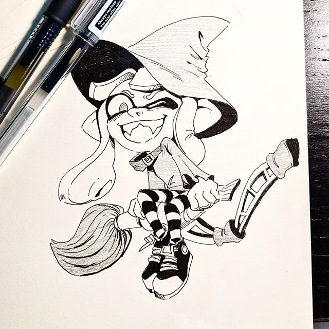 #inktober will be Splatoon this year. Because inktober is 90% stress and they are super easy to draw. 🎃 . . . #splatoon #splatoween #inkling #inkbrush #nintendo #doodle #sketch #drawing #art #artistsoninstagram