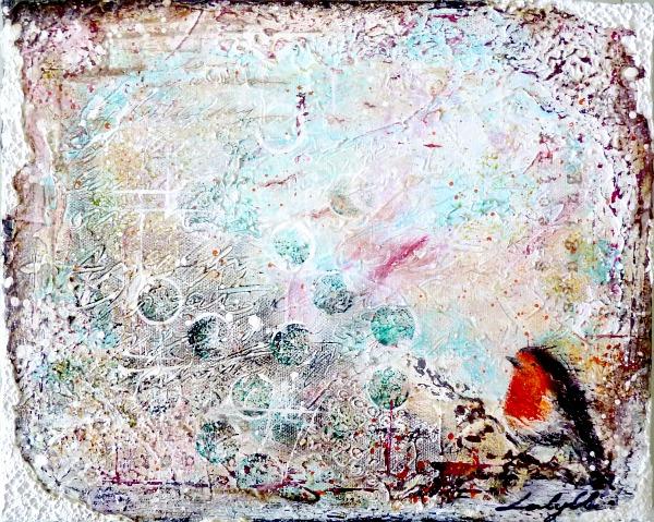 Le rouge-gorge de Noël © 2010 Laly Mille Techniques mixtes sur toileUn de mes premiers essais au mixed media, en 2010 !