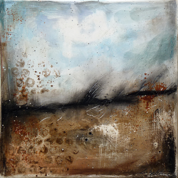 "Windswept © 2012 Laly Mille 20x20 cm (8""x 8"") Mixed media painting on plaster"