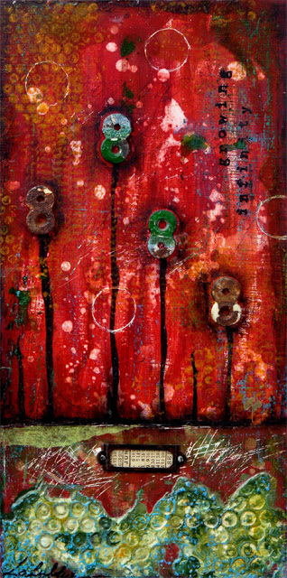 Growing infinity : mixed media painting on wood