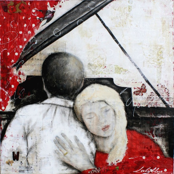 Play for me, mixed media painting on canvas by Laly Mille