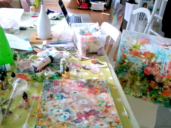 A messy floral painting session!