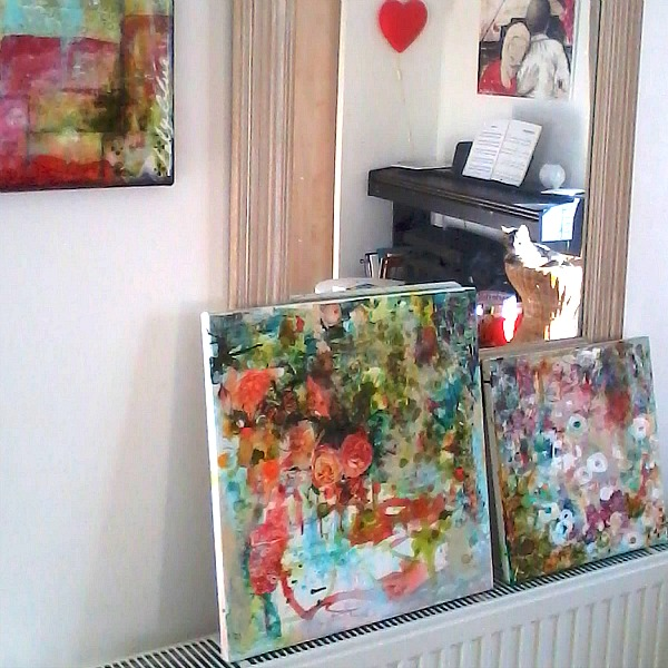 Floral paintings drying