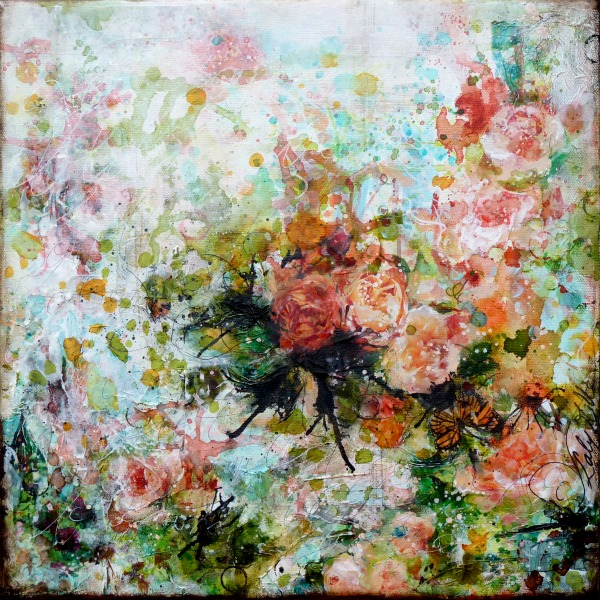 Joy! mixed media painting on canvas by Laly Mille
