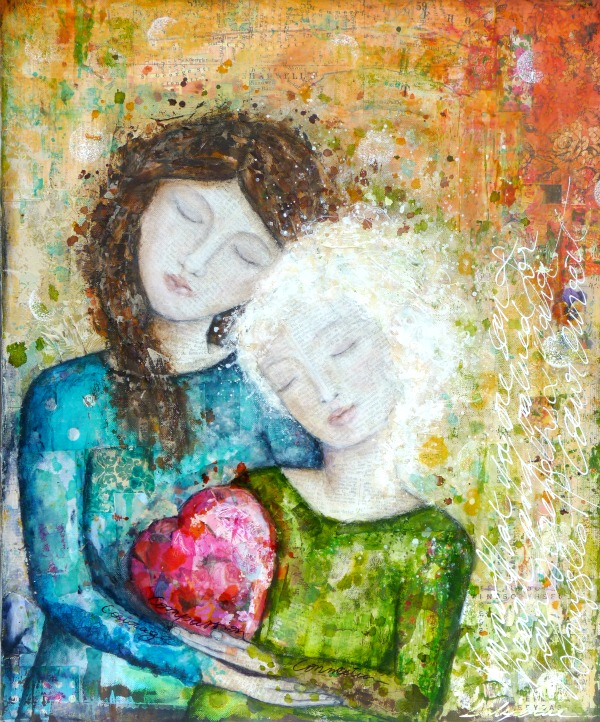 Compassion: Mixed media painting on canvas by Laly Mille
