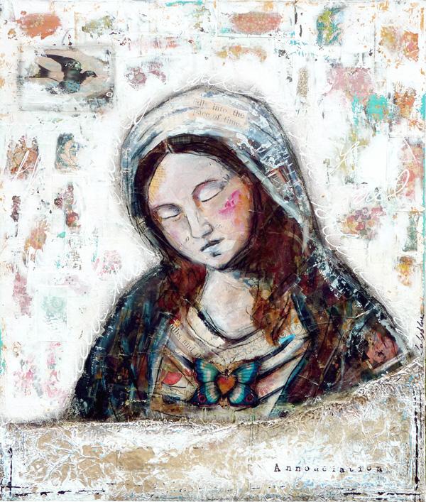 """© 2012 Laly Mille 46 x 55 cm - 18,1"""" x 21,6"""" Techniques mixtes sur toile"""