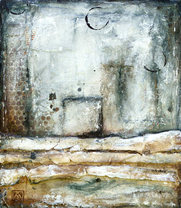 The witchy hour, Mixed media painting on wood, plaster and encaustic © 2012 Laly Mille