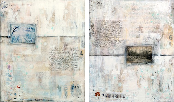Winter Song 1 & 2, mixed media, techniques mixtes sur toile © 2013 Laly Mille