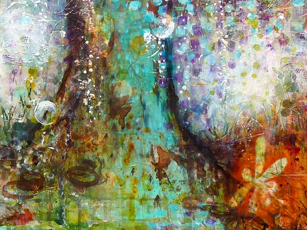 The Wishing Tree, detail, mixed media painting on canvas © 2013 Laly Mille