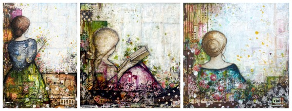 Touch the Dream, Miss Marianne and Just Breathe, 3 Jane Austen heroines, mixed media on canvas © 2014 Laly Mille