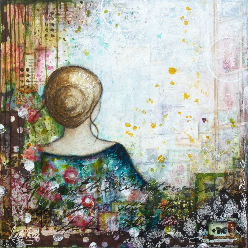 Just Breathe : mixed media painting by Laly Mille