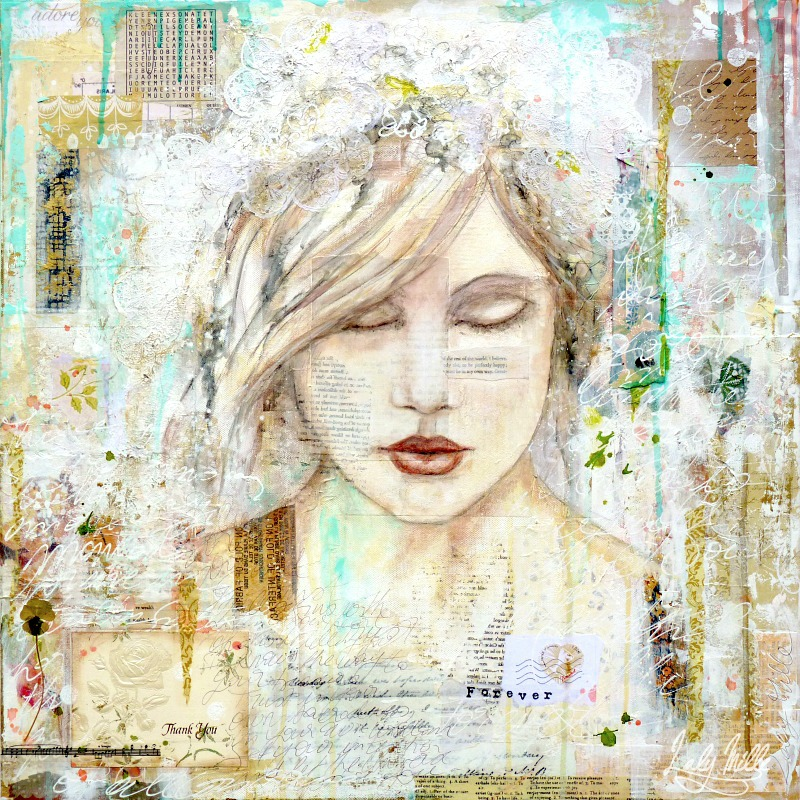Forever : mixed media painting by Laly Mille
