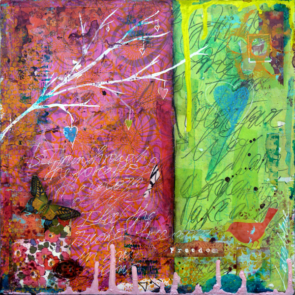 Through the forest : mixed media painting by Laly Mille