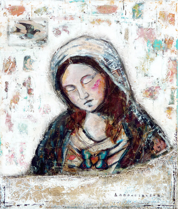 Annunciation : mixed media painting by Laly Mille