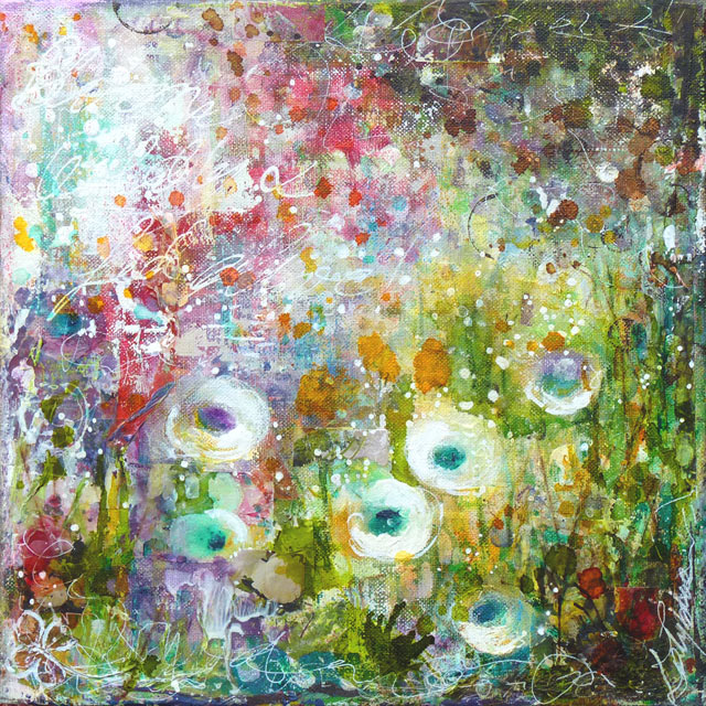 Bloom : mixed media painting by Laly Mille