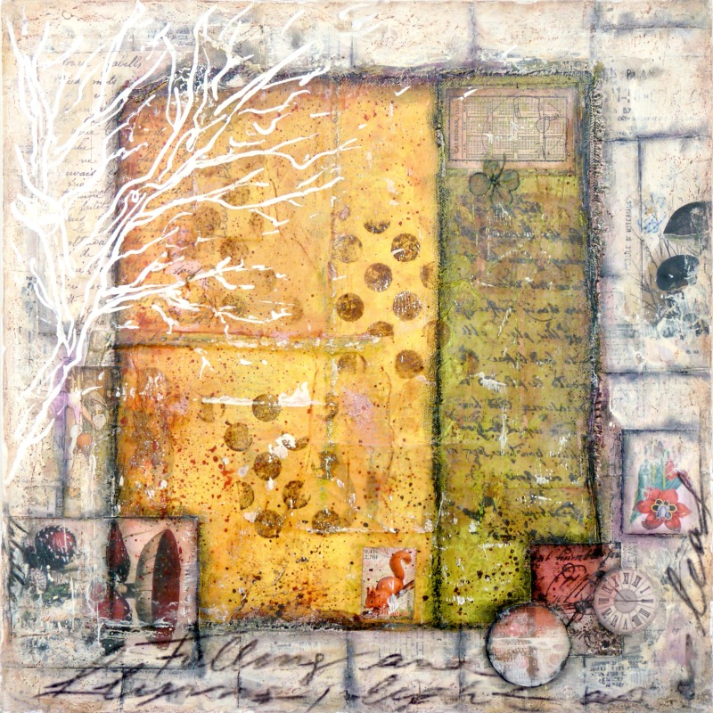 Fall : mixed media painting by Laly Mille