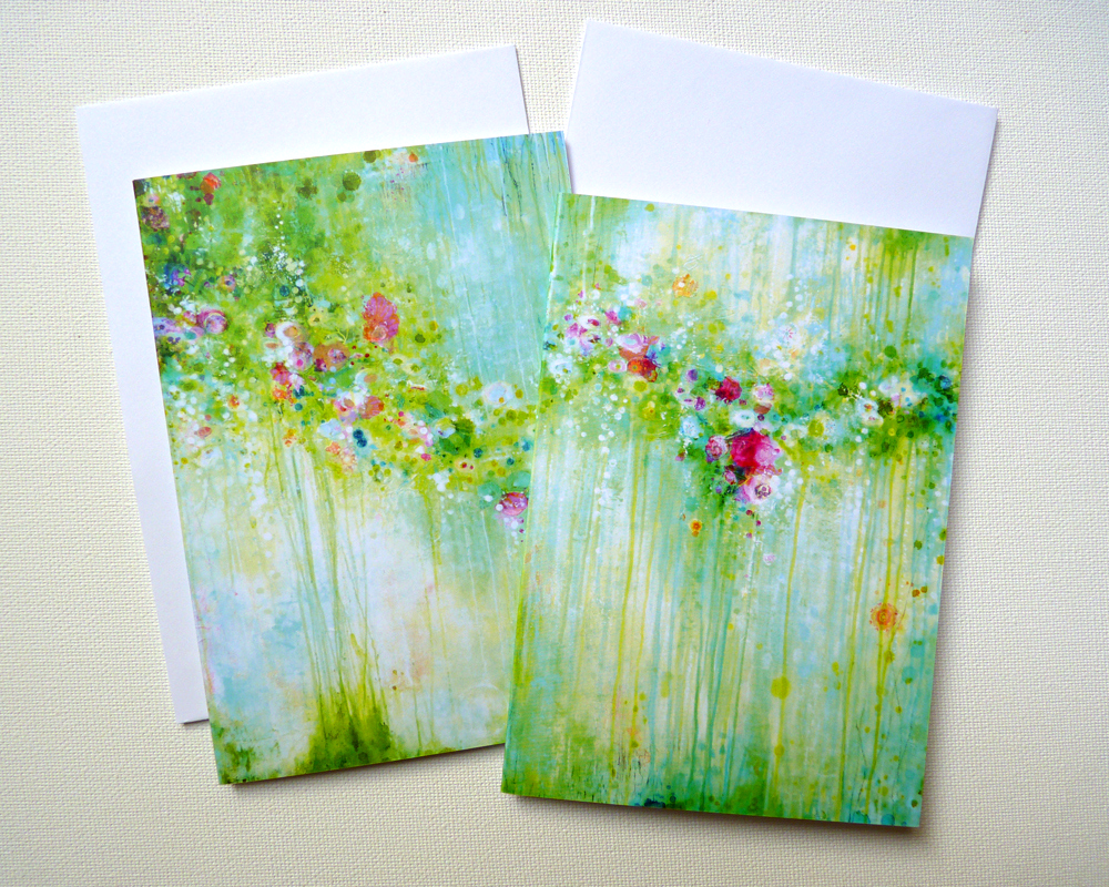 Flow… Creative musings and two mixed media paintings + greeting cards! © 2015 Laly Mille