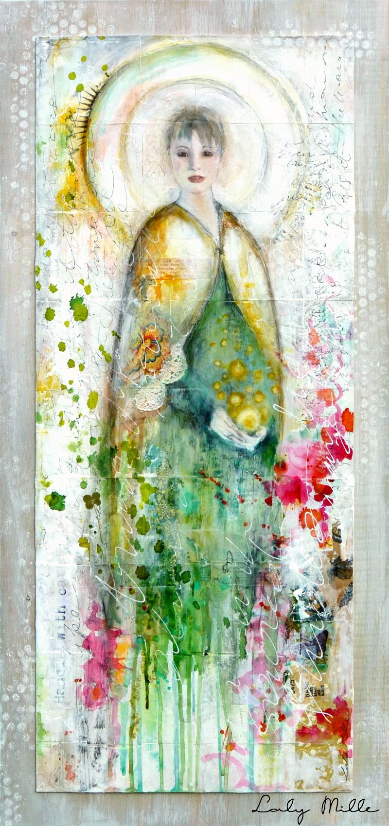 Guardian of Dusk (Gardienne du Crépuscule) - Mixed media sur papier et bois © 2015 Laly Mille