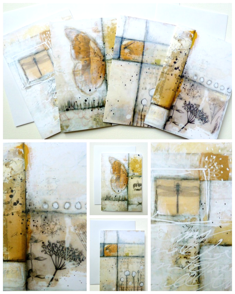Warm autumn shades and soft wintery tones...  set of 4 greeting cards available HERE